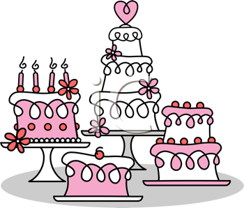 Royalty Free Clipart Image of Cakes