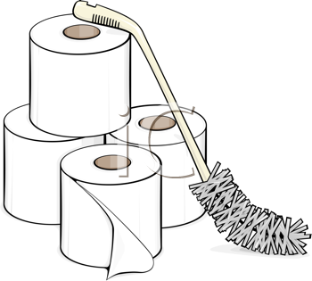 Royalty Free Clipart Image of Rolls of Toilet Paper and a Brush