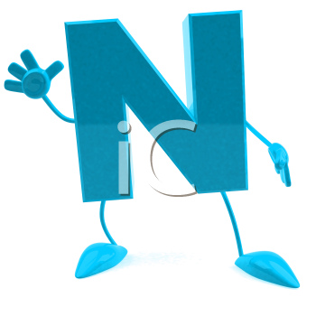 Royalty Free 3d Clipart Image of the Letter N Waving
