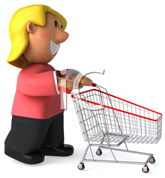 Royalty Free Clipart Image of a Woman With Shopping Cart
