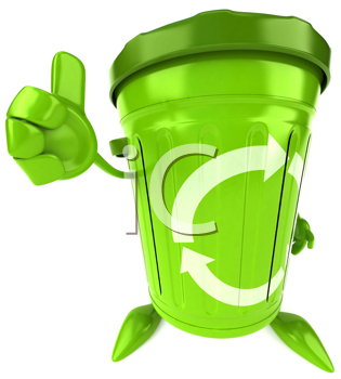 Royalty Free Clipart Image of a Green Recycle Bin