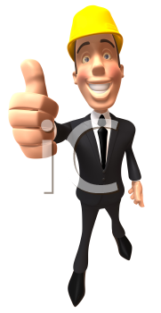 Royalty Free 3d Clipart Image of a Businessman Wearing a Hardhat and Giving a Thumbs Up Sign