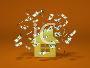 Royalty Free 3d Clipart Image of a House With Money Floating Around It