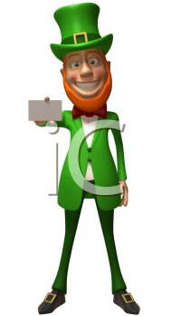 Royalty Free 3d Clipart Image of a Leprechaun Holding a Business Card