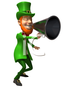 Royalty Free 3d Clipart Image of an Leprechaun Speaking into a Megaphone