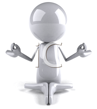 Royalty Free 3d Clipart Image of a White Character Meditating