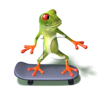 Royalty Free 3d Clipart Image of a Frog Riding a Skateboard