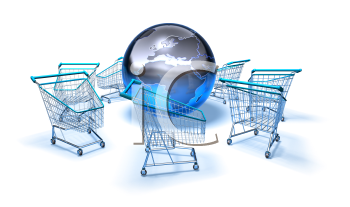 Royalty Free 3d Clipart Image of Shopping Carts With a Globe in the Middle