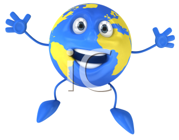 Royalty Free Clipart Image of a Jumping Blue World