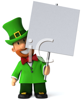 Royalty Free Clipart Image of a Leprechaun With a Placard