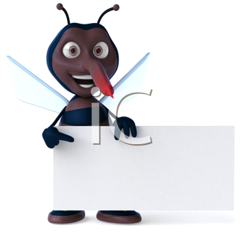 Royalty Free Clipart Image of a Mosquito With a Banner