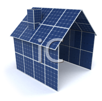 Royalty Free Clipart Image of a House of Solar Panels