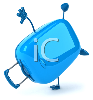Royalty Free Clipart Image of a Suitcase Doing a Cartwheel