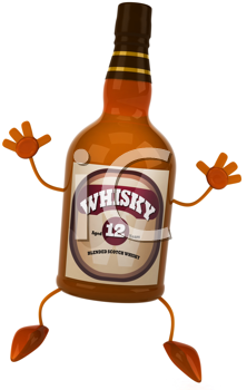 Royalty Free Clipart Image of a Happy Whisky Bottle