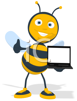 Royalty Free Clipart Image of a Bee With a Computer