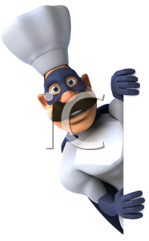 Royalty Free Clipart Image of a Superhero Chef