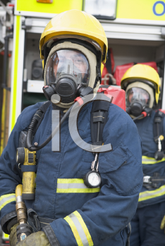 Royalty Free Photo of Firefighters in Masks