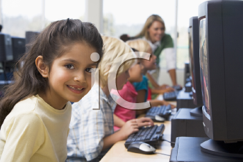 Royalty Free Photo of Children at Computers