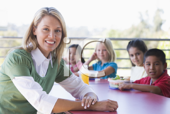Royalty Free Photo of a Teacher at a Lunch Table