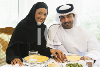 Royalty Free Photo of a Couple Eating