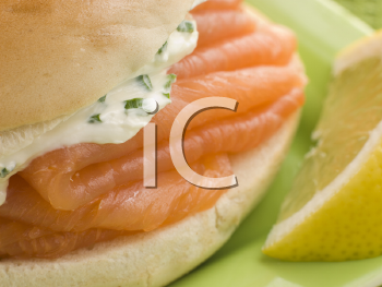 Royalty Free Photo of Smoked Salmon and Cream Cheese on a Bagel