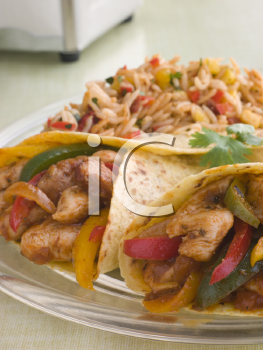Royalty Free Photo of Chicken Fajita Wraps with Jambalaya