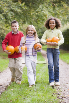 Royalty Free Photo of Children Walking With Pumpkins