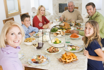Royalty Free Photo of a Family at Christmas Dinner