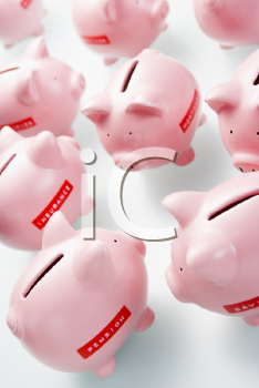 Royalty Free Photo of a Group of Piggy Banks