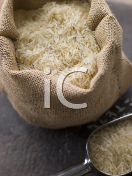 Royalty Free Photo of Basmati Rice in a Sack
