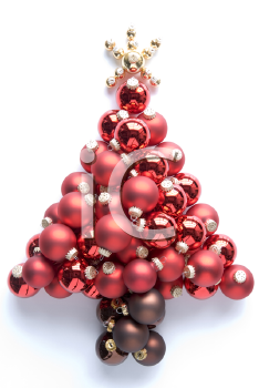 Christmas Tree Made From Red And Gold Baubles Against White Background