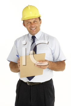 Royalty Free Photo of a Man in a Hardhat Holding a Clipboard