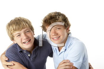 Royalty Free Photo of Two Boys Being Playful