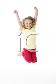 Young Girl Leaping In Air