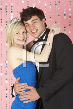 Royalty Free Photo of a Young Couple Dressed for a Party