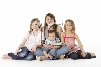 Group Of Children Together In Studio
