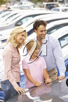 Family buying new car