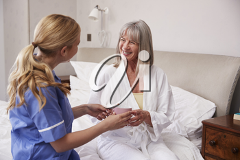 Nurse Making Home Visit To Senior Woman In Bed