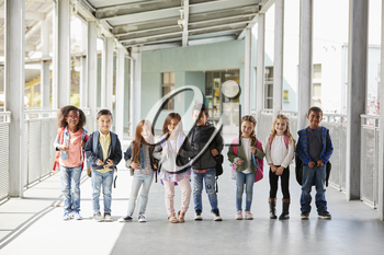 Elementary school class standing in corridor with their bags