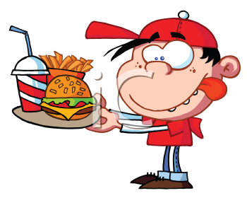 Royalty Free Clipart Image of a Child With Fast Food