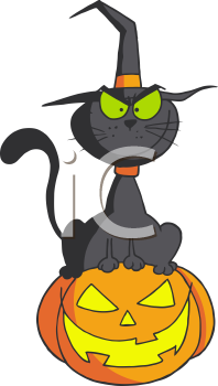 Royalty Free Clipart Image of a Black Cat Sitting on a Jack-o-Lantern
