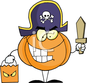 Royalty Free Clipart Image of a Pumpkin Wearing a Pirate Costume