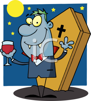 Royalty Free Clipart Image of a Vampire Holding a Glass of Blood