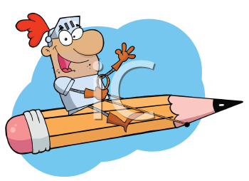 Royalty Free Clipart Image of a Knight Riding a Pencil