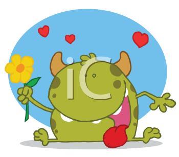 Royalty Free Clipart Image of a Monster With a Flower