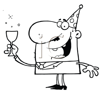 Royalty Free Clipart Image of a Man in a Party Hat Holding a Glass