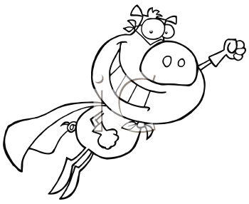 Royalty Free Clipart Image of a Pig Superhero