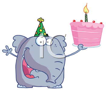 Royalty Free Clipart Image of an Elephant Celebrating a Birthday