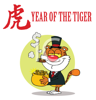 Royalty Free Clipart Image of a Wealthy Tiger Under the Year of the Tiger Heading