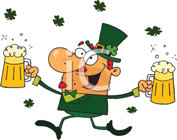 Royalty Free Clipart Image of a Happy Leprechaun Carrying Two Pints of Beer